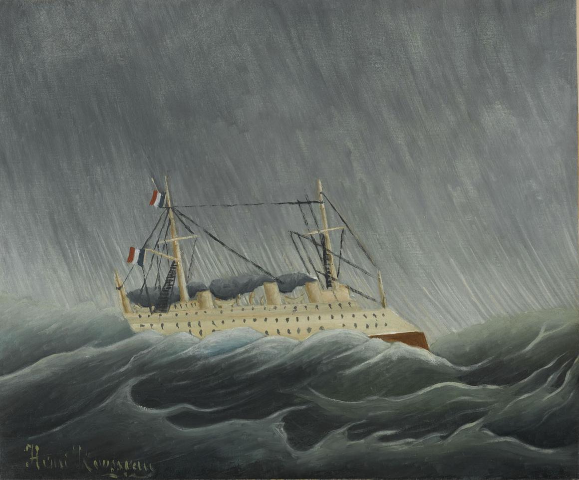 Henri Rousseau, dit Le Douanier Rousseau (1844-1910) Le Navire dans la tempête, vers 1899 Huile sur toile,